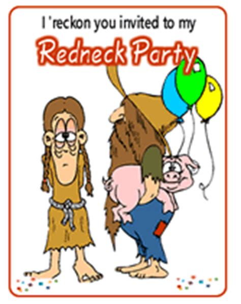 free printable redneck theme party invitations