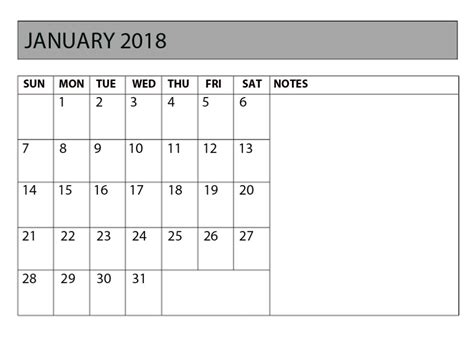 printable monthly calendar 2018 with notes january 2018 calendar with notes