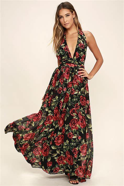 Maxi Flower Black Dress black floral print dress halter dress maxi dress 89 00