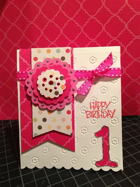 Handmade 1st Birthday Cards - handmade birthday card birthday pink