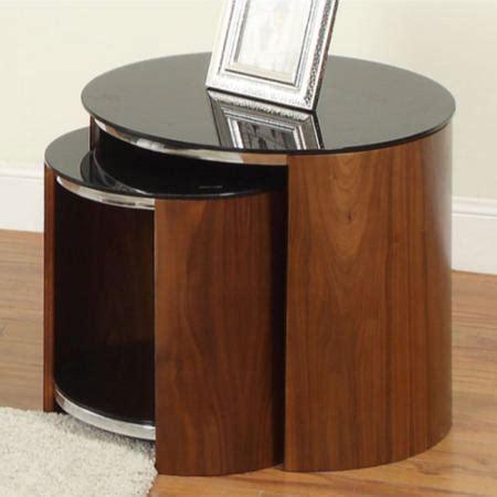 jual glass top walnut nest of tables furniture123