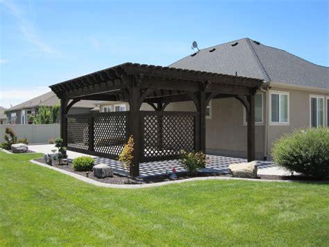 diy covered pergola covered patio 5 post 20 x 20 diy pergola kit w lattice