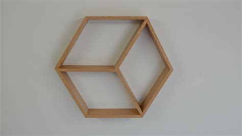hexagon wooden shelf geometric shelf by