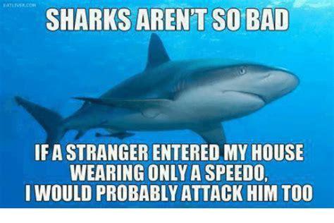 Speedo Meme - sharks arent so bad if astranger entered my house wearing