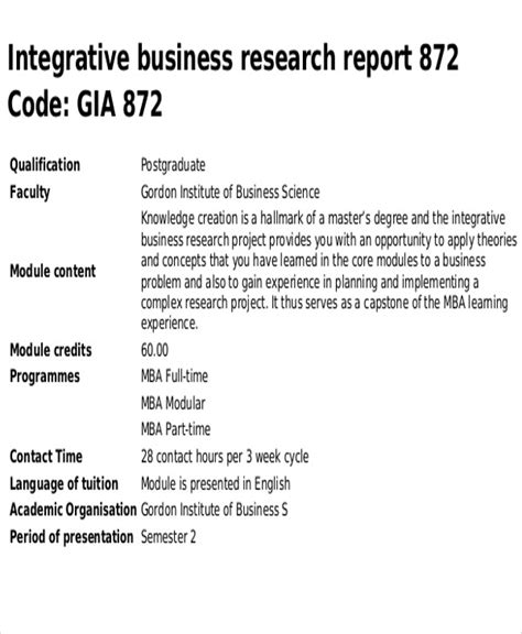 layout of a business research report research report sle template image collections