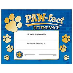 Home gt paw fect attendance certificate