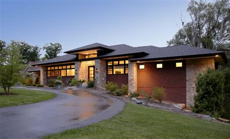 new prairie style home front cantilever modern exterior chicago by west studio prairie style home contemporary exterior detroit
