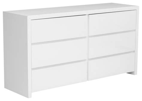 Modern Dresser Drawers by Bonita Modern White High Gloss 6 Drawer Dresser Modern