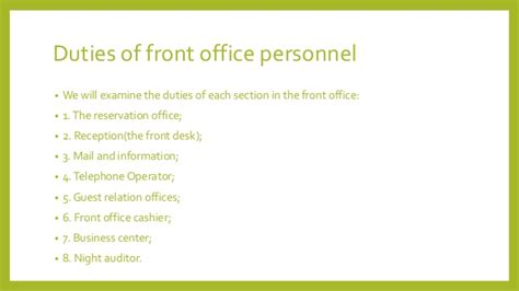 Duties Of A Front Desk Officer Duties Of Front Desk Officer Introduction To Front Office Chapter 1 Front Office Practice