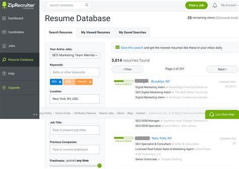 ziprecruiter resume database resume ideas