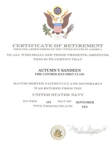 navy retirement certificate from the fleet reserve to official retirement shadowproof