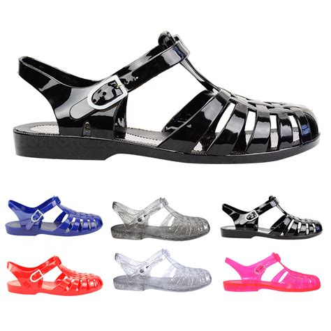 jelly sandals womens flat rubber retro 90s jelly buckle sandals