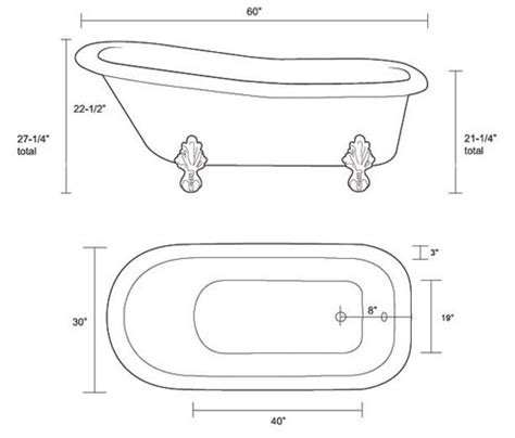 dimensions of standard bathtub restoria ambassador classic slipper clawfoot tub bathtub