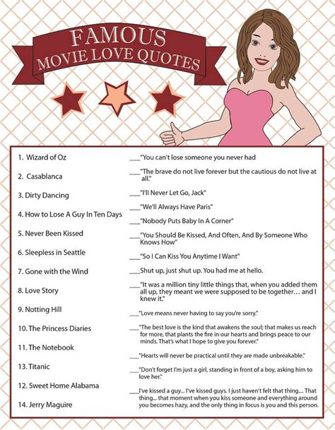 printable movie quotes game 17 best images about bridal shower on pinterest