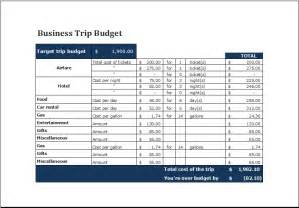 Travel Budget Planner Template Ms Excel Printable Business Trip Budget Template Excel