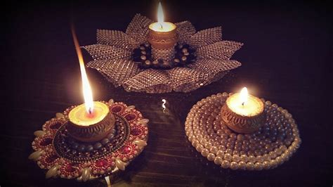 candle light decoration at home how to make diya holder with cd diwali decoration ideas