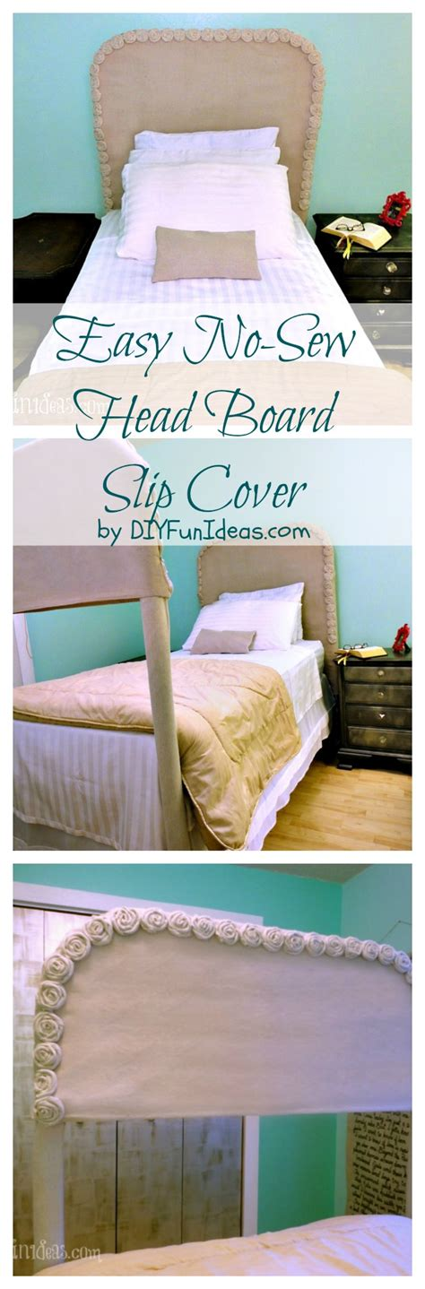 easy no sew diy drop cloth rosette headboard slipcover thrifty bedroom update do it
