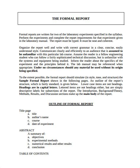 24 Sle Formal Reports Sle Templates How To Write A Formal Business Report Template