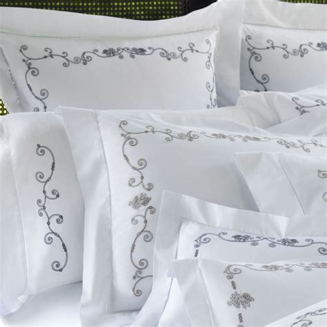 embroidered bedding white floral embroidered sheets bedding sferra janella