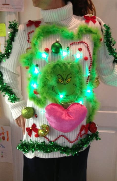 the grinch sweater with lights ooh lala ugly tacky grinch christmas sweater sz m l lights