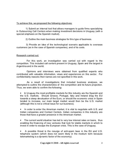 Business Plan For A Call Center In Uruguay Call Center Rfp Template
