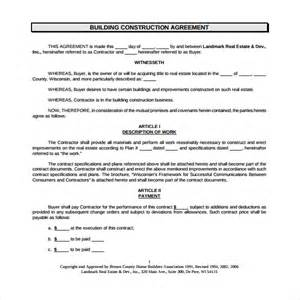 building construction templates sle construction agreement template 6 free documents