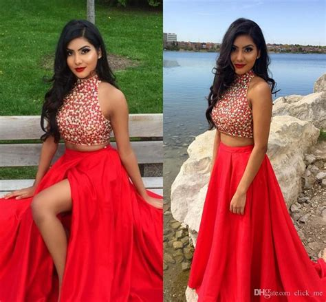 black prom hairstyles 2017 sparkling high neck red two piece prom dresses 2017 sexy