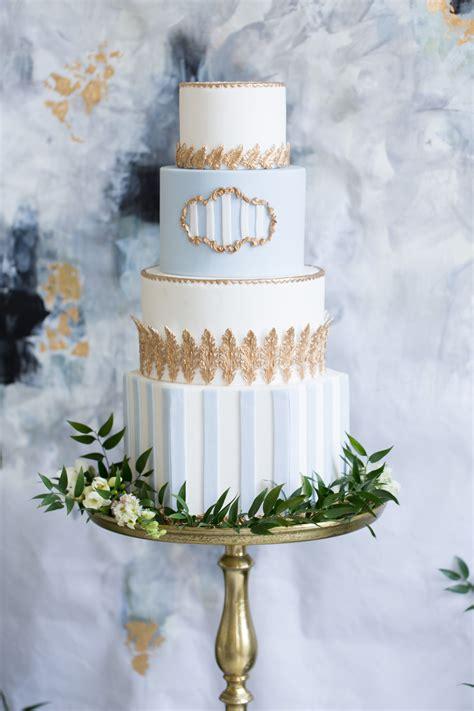 sky blue  gold wedding cake elizabeth anne designs