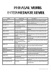list of phrasal verbs for intermediate level students