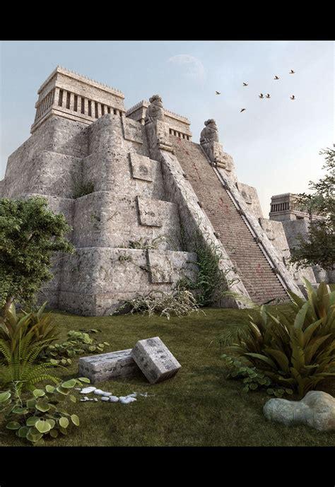 imagenes de aztecas en 3d piramide azteca
