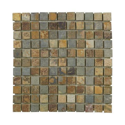 Bathroom Floor Tile Home Depot Jeffrey Court Slate 12 In X 12 In X 8 Mm Mosaic Floor