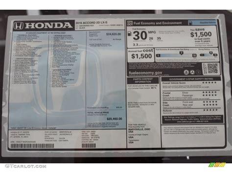 Honda Accord Sticker by 2016 Honda Accord Lx S Coupe Window Sticker Photos