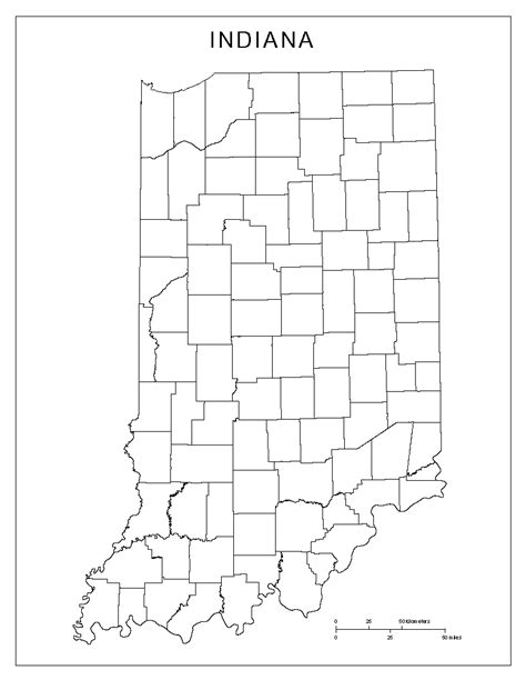 county map of indiana indiana blank map