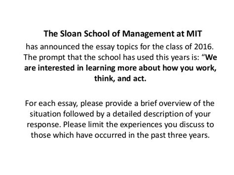 Mit Sloan Mba Thesis by Mit Sloan Essay Topics 2013 2014