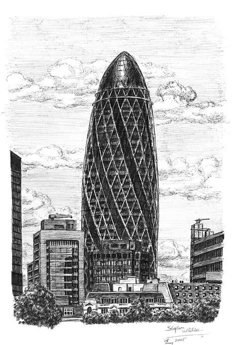 Gherkin Building London - Original drawings, prints and