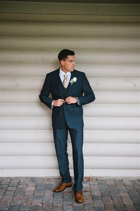 Navy Suit. Wedding suit. Cognac Shoes. Taupe tie. #