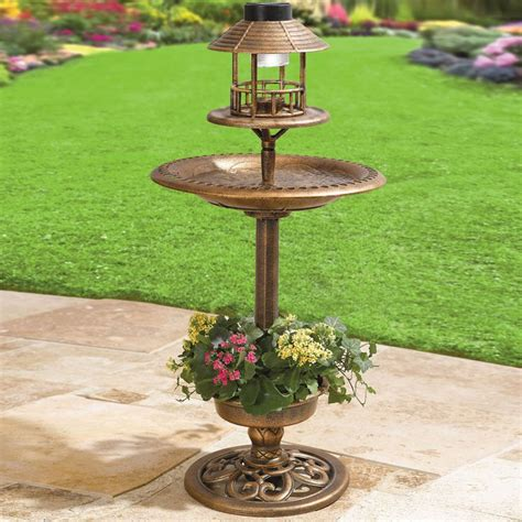 solar bird bath patio ideas pinterest