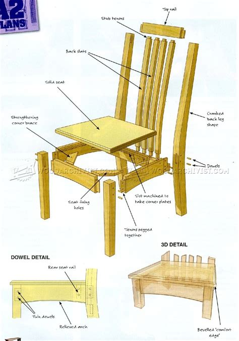 Wooden Dining Chair Plans Oak Dining Chairs Plans Woodarchivist