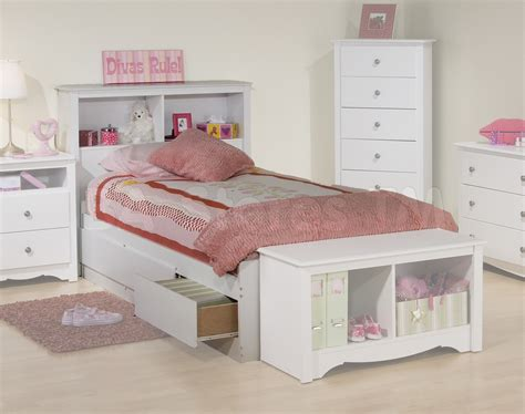 headboard storage bed prepac monterey kids platform storage bed with bookcase