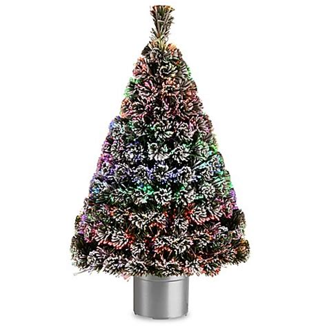 fiber optic christmas in divisoria mall national tree 4 foot fiber optic evergreen pre lit flocked tree with silver base bed bath beyond