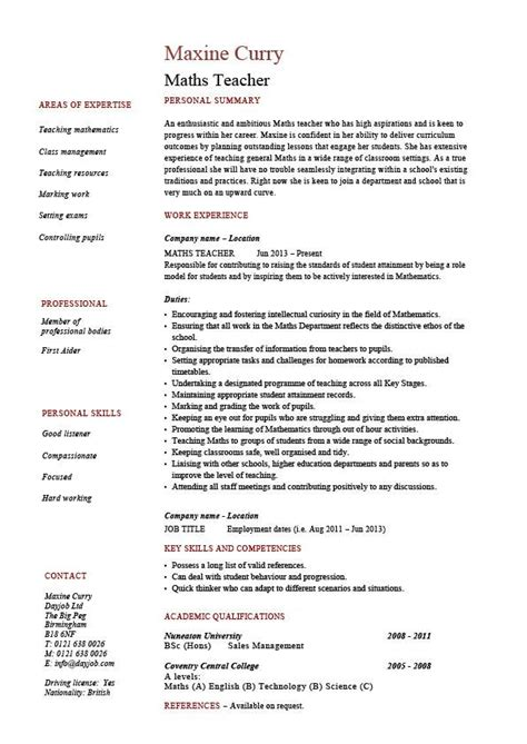 Resume Sles For Maths Teachers In India Maths Cv Template Maths Mathematics Key Stage 1 Maths