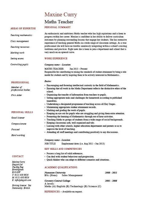 Maths teacher CV template, maths teacher job, mathematics