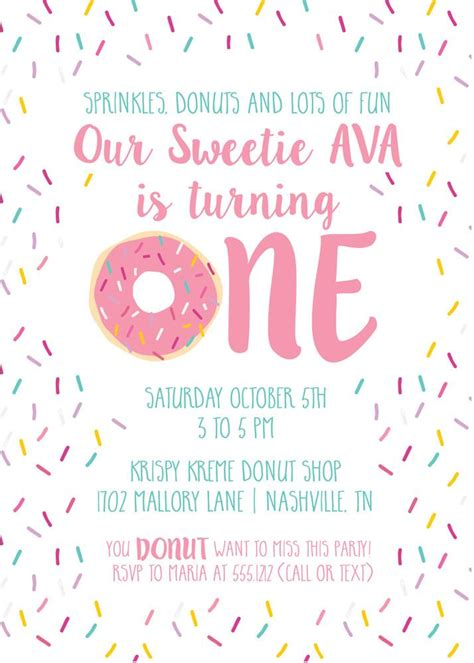 Donut First Birthday Invitations Pink Printed Pipsy Donut Invitation Template Free