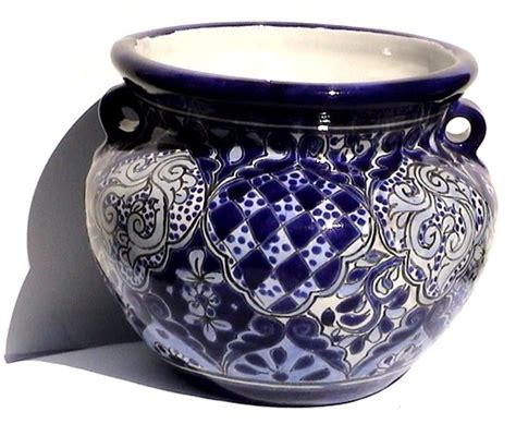 10 diameter ceramic pot blue and white small blue talavera ceramic pot