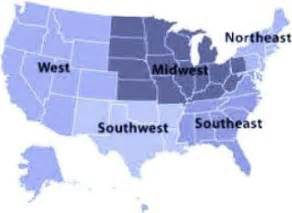 map of the 5 regions of the united states 5 regions of the united states for