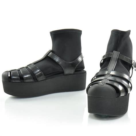 chanel rubber platform sandals 40 black 26008