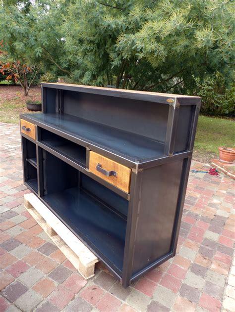 porte style atelier 3145 comptoir console bar industriel sur mesure bois et m 232 tal