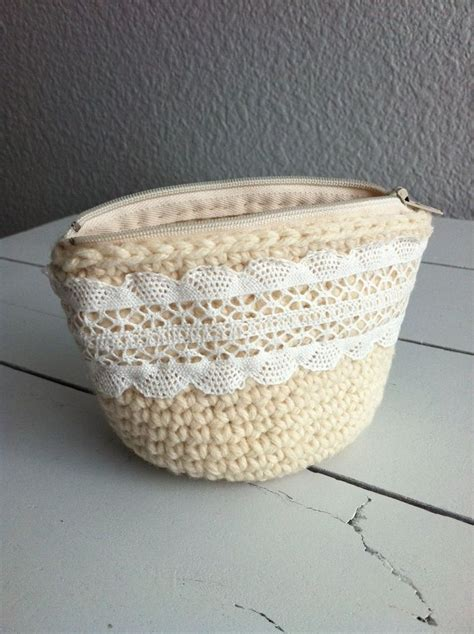 crochet coin purse with vintage lace trim house of