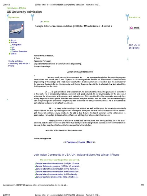 Recommendation Letter Format For Ms In Germany Sle Letter Of Recommendation Lor For Ms Admission