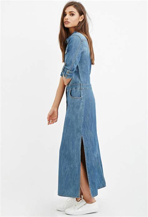Denima Maxy Dress forever 21 denim maxi shirt dress in blue lyst